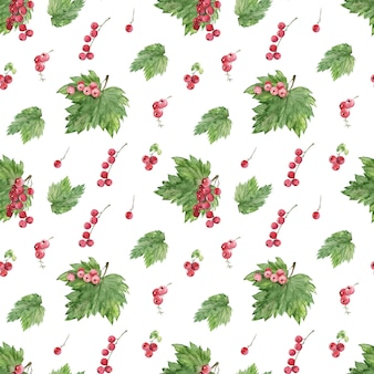 Watercolor seamless pattern with various berries