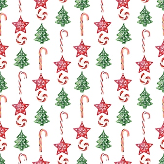 Watercolor seamless pattern with various festive attributes of new year holidays