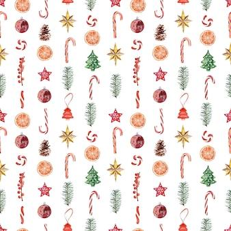 年末年始のさまざまなお祝いの属性を持つ水彩画のシームレスなパターン