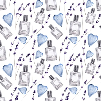 Watercolor seamless pattern with various vials and aromatic plants