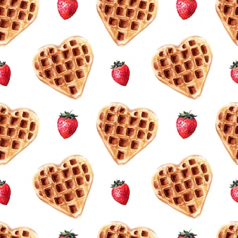 Watercolor seamless pattern with wafers of various shapes. heart waffles, square waffles