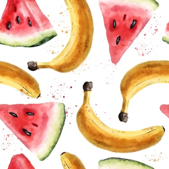 Watercolor seamless pattern with watermelons and bananas