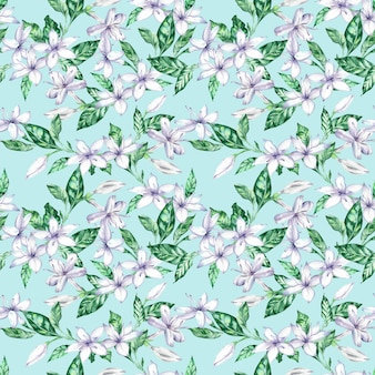 Watercolor seamless pattern with white coffee flowers and green leaves.