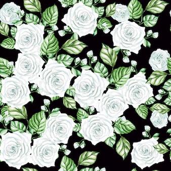 白いバラと葉の水彩画のシームレスなパターン。図