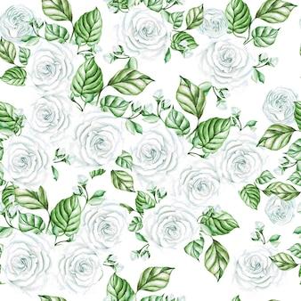 흰색 장미와 나뭇잎 수채화 완벽 한 패턴입니다. 삽화