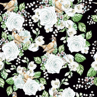 Watercolor seamless pattern with white roses and jasmine flowers, birds. illustration