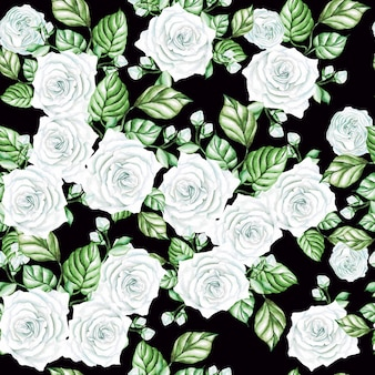 Watercolor seamless pattern with white roses and leaves.  illustration