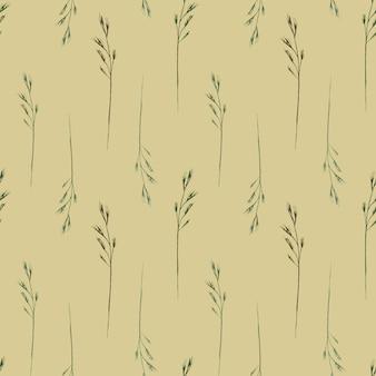 ベージュの背景に野生のフィールドハーブ野草と水彩のシームレスなパターン
