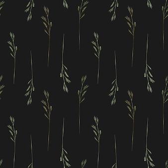 黒の背景に野生のフィールドハーブ野草と水彩のシームレスなパターン
