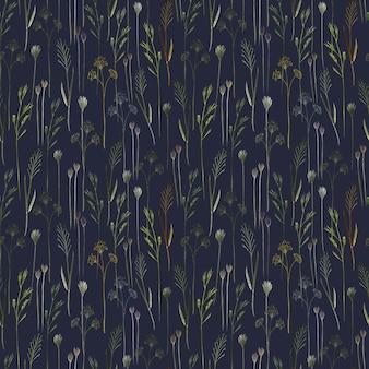 青い背景の上の野生のフィールドハーブ野草と水彩のシームレスなパターン