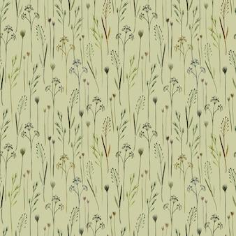 緑の背景に野生のフィールドハーブ野草と水彩のシームレスなパターン