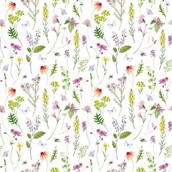 マルハナバチと蝶と野生の花と草の水彩画のシームレスなパターン。手描きの花