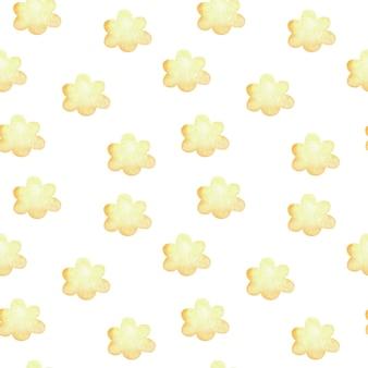 黄色の雲と水彩のシームレスなパターン。