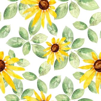 黄色のヒマワリと緑の葉と水彩のシームレスなパターン
