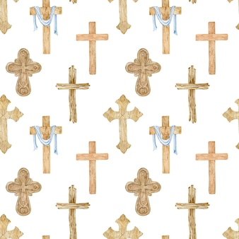 Watercolor seamless pattern of wooden christian crosses.