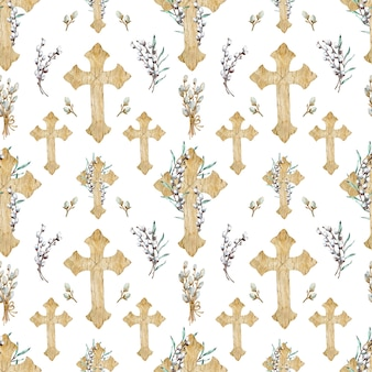 Watercolor seamless pattern of wooden christian crosses