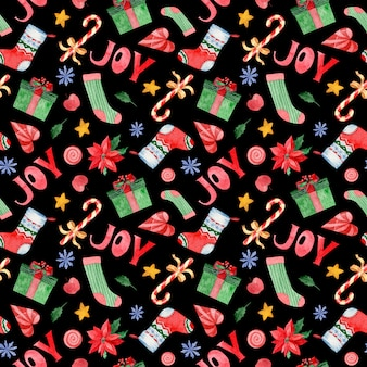 Watercolor seamless pattern of xmas