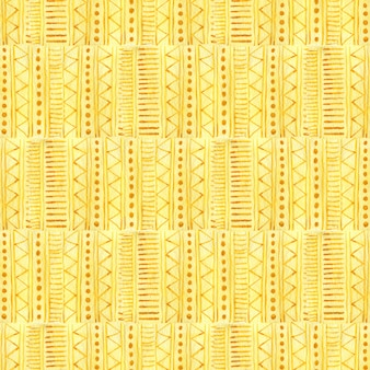 Watercolor seamless pattern in yellow color. ethnic textile design.