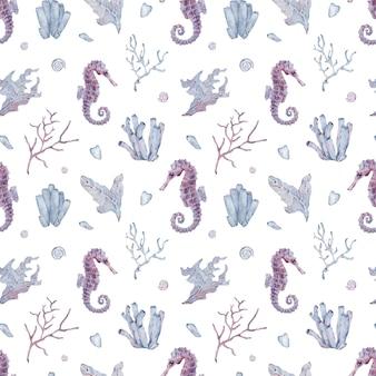 Watercolor seamless seahorse and seaweed pattern. purple underwater background.