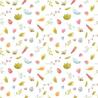 꿀벌 꽃과 나뭇가지 당근 새가 있는 수채색 매끄러운 봄 패턴은 파티 초대 어린이 장식 섬유 디자인 디지털 스크랩북을 위한 부활절 달걀을 남깁니다.