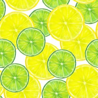 Акварель бесшовная текстура с ломтиками лимона и лайма на белой поверхности