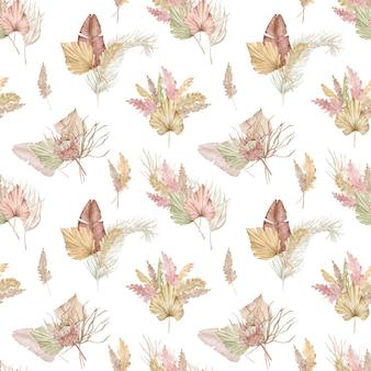 エキゾチックなヤシの葉とススキと水彩のシームレスな熱帯パターン。夏のイラスト。