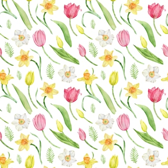 Watercolor seamless tulip and daffodil pattern