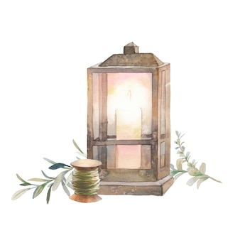 Watercolor season illustration. cozy isolated decorative composition: candle lamp, thread and eucalyptus branch on white background. hand drawn cute icon.