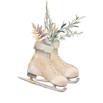 Watercolor season illustration. vintage isolated items: skates with golden and evergreen leaves on white background. rustic object for christmas design. hand drawn cute icon.