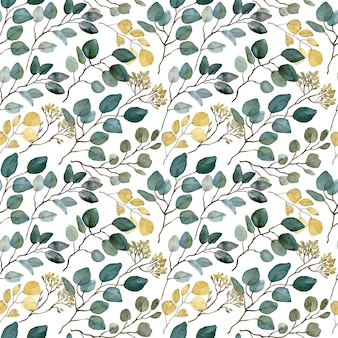 Акварель с семенами эвкалипта бесшовные модели. золотые и зеленые листья. фон ветви зелени.