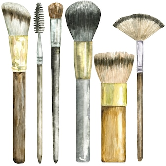 Watercolor set of  brushes