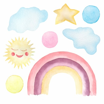 Watercolor set of cute children's illustrations - rainbow, su,clouds,polka dot.