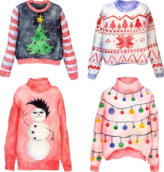 Watercolor set of cute hand drawn ugly christmas sweaters