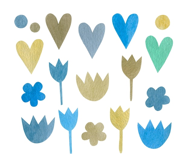 Watercolor set of hearts flowers isolated on white background