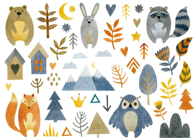 Watercolor set of illustrations of animals forest trees spruce owl rabbit raccoon