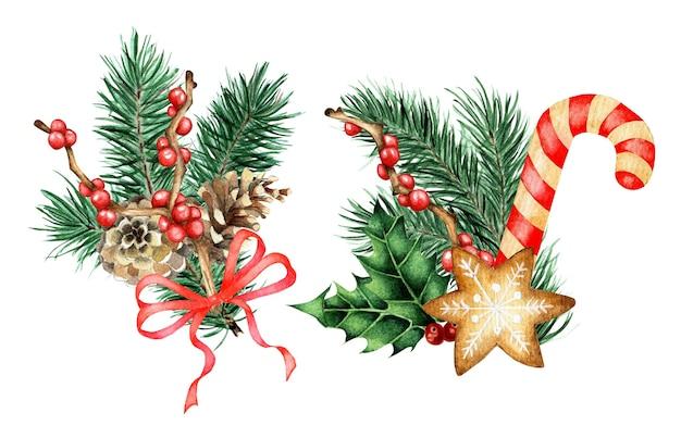 Акварельный набор рождественских и новогодних декораций