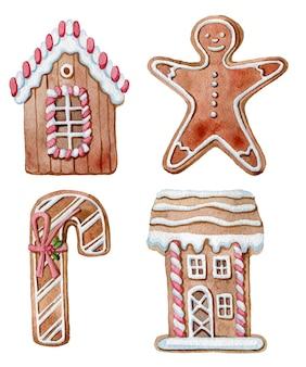 クリスマスジンジャークッキーの水彩セット