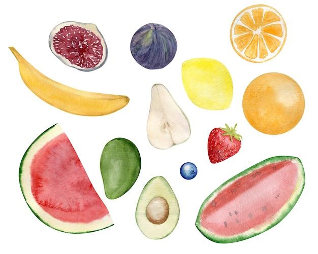 Акварельный набор расписанных вручную фруктов и ягод, банана, лимона и авокадо.