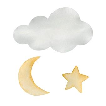 水彩イラストのセットは、白い背景で隔離の自由奔放に生きるスタイルの月の星をクラウドします。