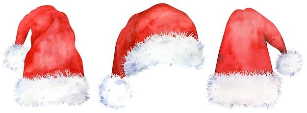 Акварельный набор красных шляп санта-клауса