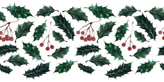 Акварельный набор бесшовных границ для праздничных новогодних и рождественских тем