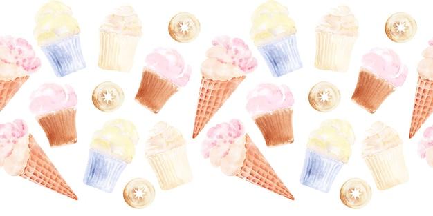 カップケーキ、アイスクリーム、ケーキとシームレスな境界線の水彩セット
