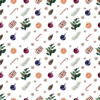 Акварельный набор бесшовных паттернов для праздничных новогодних и рождественских тем
