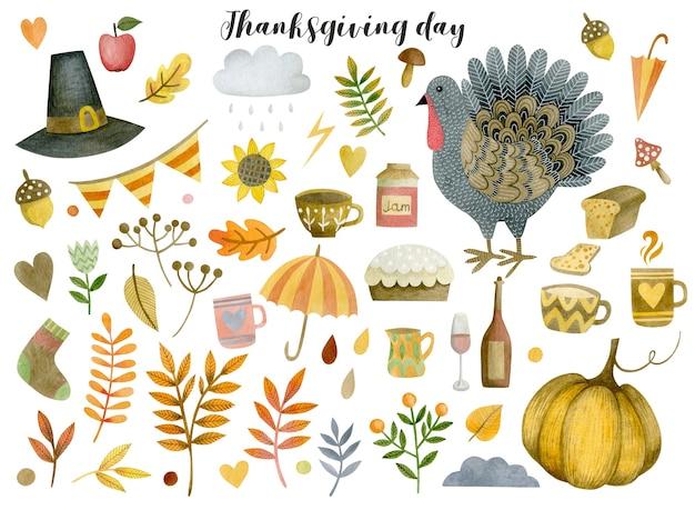 Акварельный набор элементов благодарения, изолированные на белом фоне