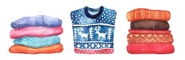 冬や秋の服の水彩セット。水彩セーター、靴下、スカーフ。白い背景で隔離の要素。