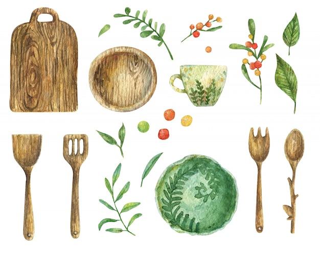 木製食器(プレート、シャベル、スプーン、フォーク)の水彩セット。キッチンツール。子宮頸部のグリーンプレートと白いカップ。葉と果実の枝。