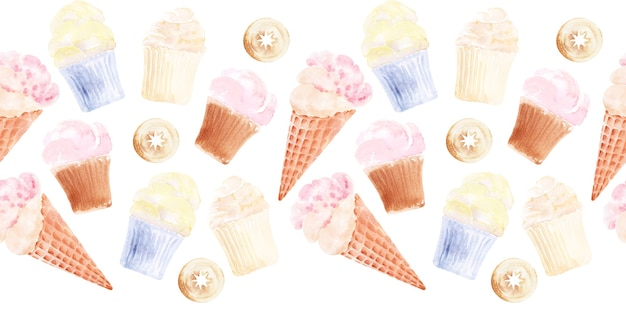 Watercolor set of seamless borders with cupcakes, ice cream and cakes