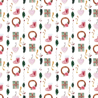 Watercolor set of seamless patterns for festive new year and christmas themes