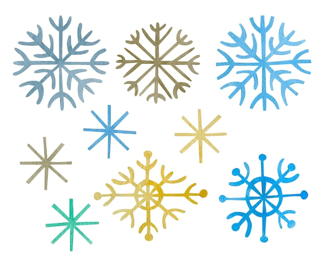 Watercolor set of snowflakes isolated on white background