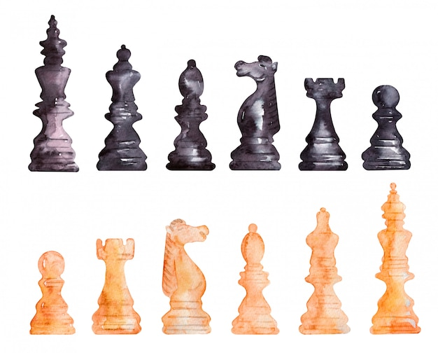 Watercolor set with chess pieces
